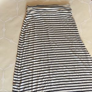 J. Crew Striped Maxi Skirt Black Cream XXS
